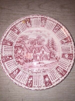 Staffordshire 1982 Plate Made By English Ironstone Tableware Limited England