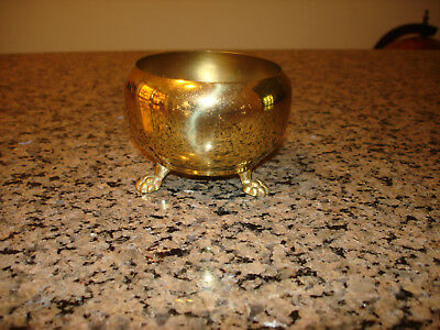 Vintage Small Solid brass pot / Pail / planter Lion footed