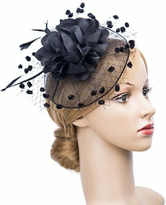 Fascinators Hats for Womens 50s Headwear with Veil Flower Cocktail Tea Party
