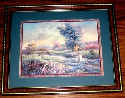 Lee K Parkinson Framed & Matted Picture Print Art Lady Admiring Flowers Around