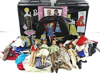 Vintage 1960s Mattel Lot Of Barbie Dolls Midge Skipper 1963 Clothes & Cases