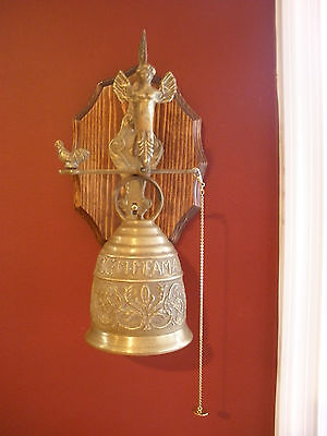 Vintage SOLID BRASS MONASTERY STYLE BELL - Latin Inscribed - Angel