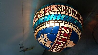 Vintage Schlitz Tiffany Style Stained Glass Hanging Light