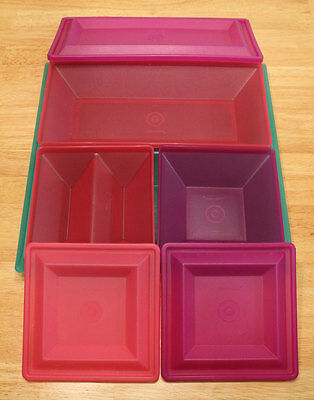 Tupperware Get Together 7-piece Serving Set set Purple Pink Green - Excellent
