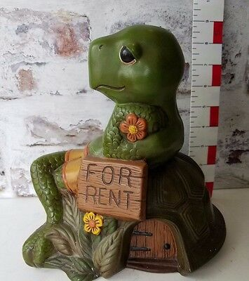 Turtle Large Figurine lays on its shell FOR RENT sign Home decor hand painted