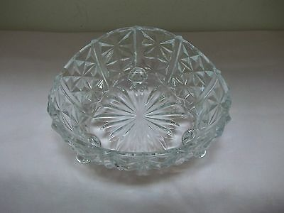 L E Smith Heritage Clear Depression Glass 3-Toed Teardrop Shaped Candy Dish Nice
