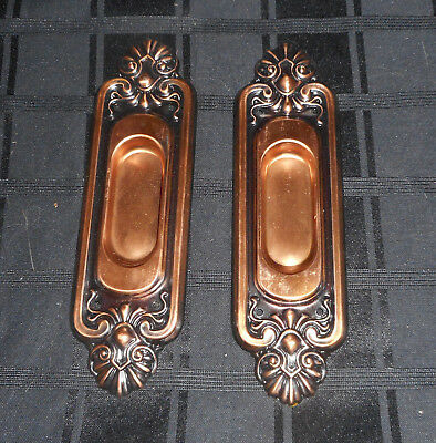 Pair Vintage Nos Pocket Sliding Door Hardware Pull Handles Brass Plated #2