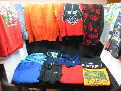Youth BOYS 17 Pc Lot USED CLOTHES Size MEDIUM 8-12 Graphic Tees Jeans PJs +MORE