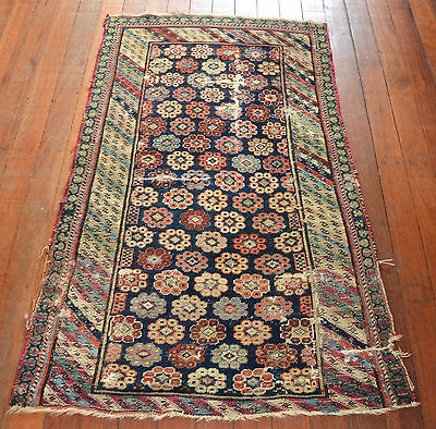 HAND KNOTTED  ANTIQUE AZERBAJIAN WOOL PILE RUG Circa 1900 GREAT VEGETABLE DYES