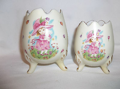 Pair Vintage Lefton Footed Vase Egg Tulips Girl Bunny # 8217