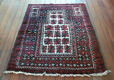 Vintage Hand Knotted  Baluch Afghan Wool Pile Rug