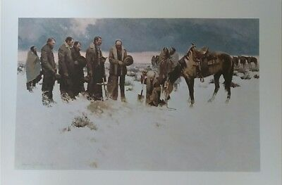 """The Lord is My Shepherd by James Reynolds Western Scene Lithograph 23"""" x 17"""""""