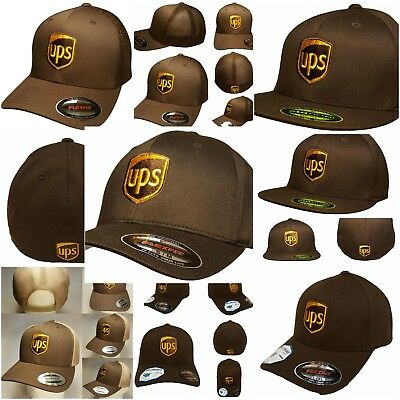 Embroidered UPS Baseball Hat /  UPS FLEXFIT SNAPBACK Trucker Mesh Yupoong