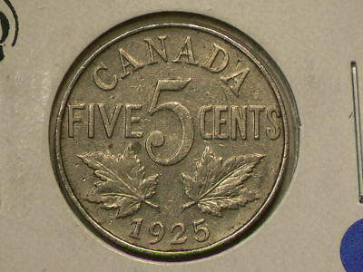 Canada 1925 Five 5 Cents  Problem Free Key Date!  Circulated  #G8613
