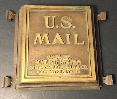 Antique U.s.mail Cutler Mailing System Mail Chute Rochester, N.y. U.s.a.