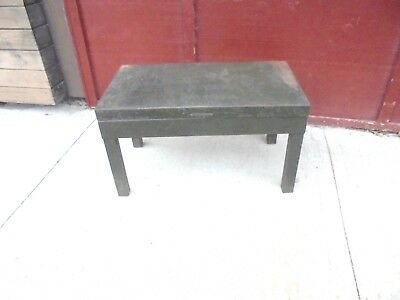 vintage metal bench table library bureau makers army green industrial decor # 2
