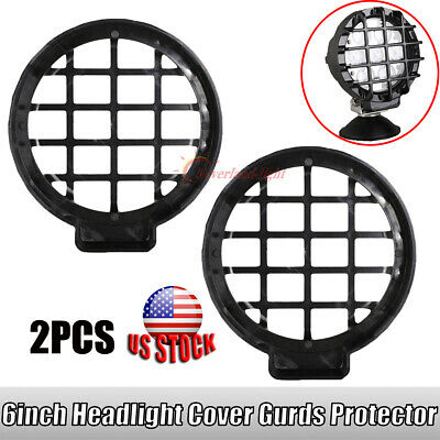 """2x 6"""" Black Headlight Cover Guard Stone Protector 70w Led Work Light Offroad"""