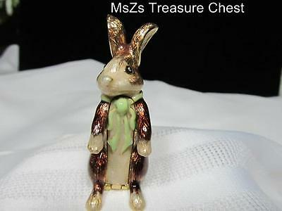 """2011 MONET """"Rabbit with Carrot"""" Collectible Enamel Trinket Box * Incl Gift Box *"""