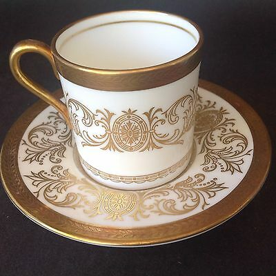 Rare! Antique Aynsley Fine English Bone China Imperial Gold 194 Mini Cup  Saucer