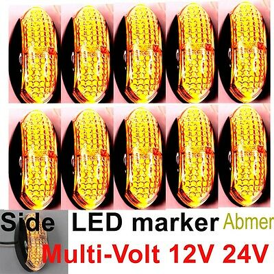 10X 12V 24V Amber CLEARANCE LIGHTS SIDE MARKER LED FOR TRAILER TRUCK BUS BOAT