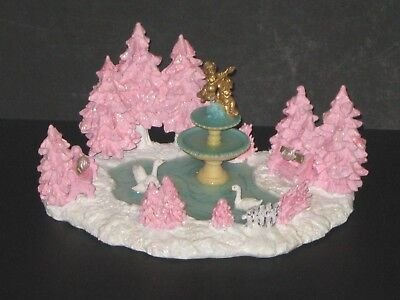 Shabby Cottage Chic Pink Christmas Village OOAK Fountain City Park Swans Angels