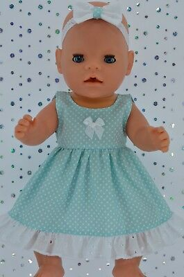 "Play n Wear Doll Clothes To Fit 17"" Baby Born AQUA POLKA DOT DRESS~HEADBAND"