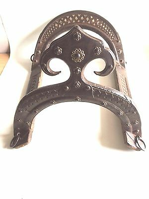 Indian original beautiful  horse saddle 1850 with wooden/Iron/Brass work. USED