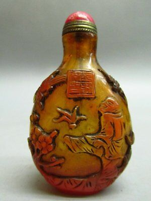 Chinese Peking Glass Carved Person Tree Pattern  Snuff Bottle