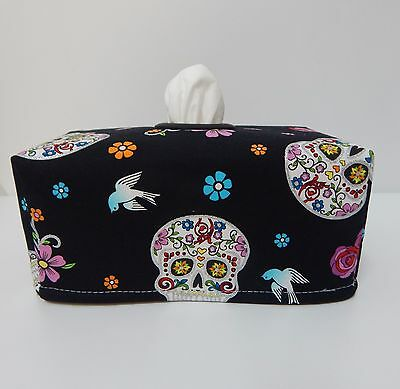 Glitter Sugar Skulls On Black Tissue Box Cover With Circle Opening - Gorgeous!