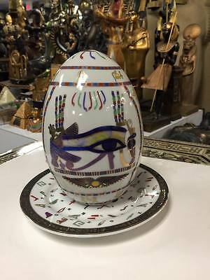 Vintage Unique Egyptian Large Scarab Ceramic EGG Hand Made in Egypt