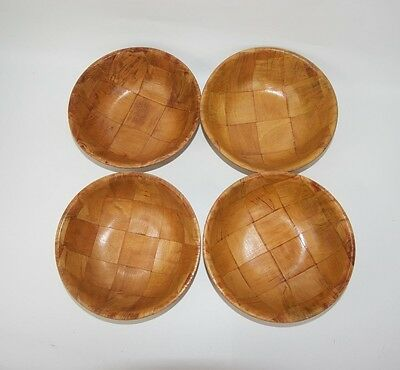 "Vintage Small 6"" Stylish Woven Patch Wooden Soup Snack Bowls SET OF 4"