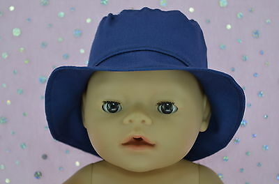 "Play n Wear Doll Clothes To Fit 17"" Baby Born NAVY DRILL SUN HAT"