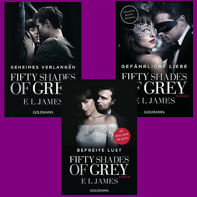 E L James - Fifty Shades of Grey Band 1+2+3 im Set - Filmausgaben Portofrei DHL