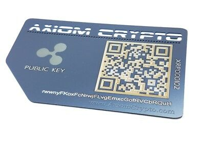 Ripple Offline Cold Wallet Secure Metal Card Storage Gift card AxiomCrypto XRP