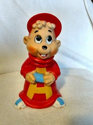 Vintage 1984 Alvin and the Chipmunks Vinyl Plastic piggy Bank complete