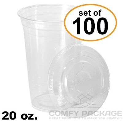100 Sets Cups 20 Oz. Plastic CRYSTAL CLEAR With Flat Lids For Cold Drinks, Iced