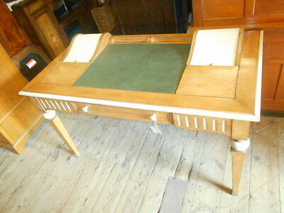 Retro Desk 2 Small Rolltop Sections Draw Green Leatherette Top Painted Features