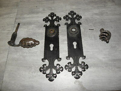 OLD STEEL WROUGHT IRON Handmade LOCK LATCH Decoration of lock. Ornament face