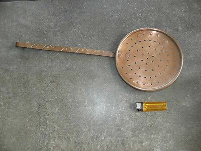 old French Copper Chef Cook Large Skimmer Cookware Early 18th antique primitive