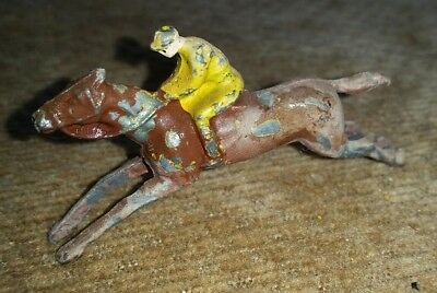 Antique lead racehorse steeplechase horse jockey toy vintage old painted england