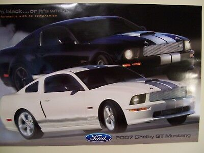 """NOS DEALER POSTER 2007 FORD SHELBY GT MUSTANG BLACK OR WHITE 24"""" x 36"""""""