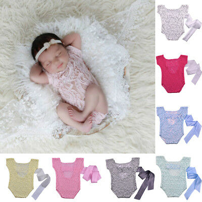 AL_ Newborn Baby Boys Girls Cute Costume Outfits Photo Photography Prop Lace Gre