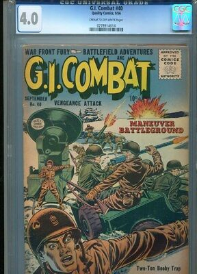 Rare G.i. Gi Combat # 40 Cgc 4.0 1956 Quality Comics 3Rd Highest Graded