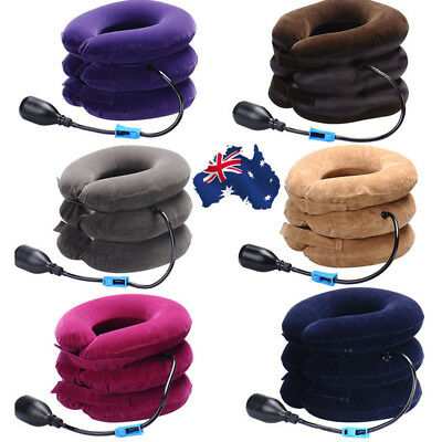 Inflatable Neck Traction Collar Relief Cervical Back Neck Pain Soft Brace Device