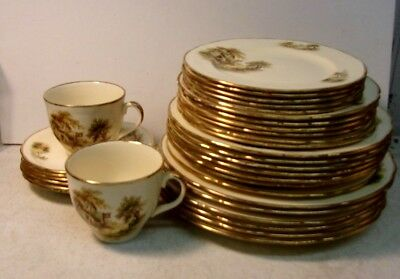 Vintage Alfred Meakin England THE REST AT WHITE HORSE INN gold trim 33pcs SALE