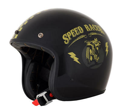 Afx Helm Fx-76 Speed Racer Vintage Jet Helmet X-Small Black/gold X-Small