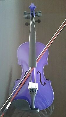 Acoustic Violin Full Size Maple Spruce with Case Bow Rosin Student Purple Color