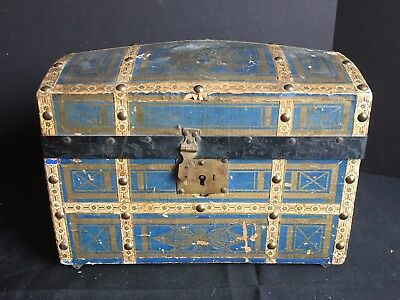 Antique Dome Top Chest Doll Trunk with Compartmentalized Papered Interior