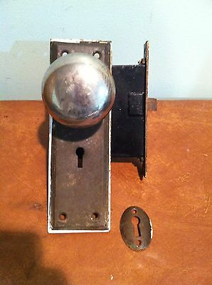 Antique Vintage Mortise Lock Door Latch with Glass and Metal Door Knobs