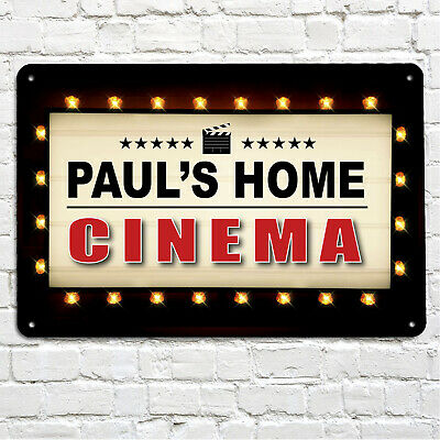 Personalised Home Cinema billboard metal A4 sign plaque gift Movie room